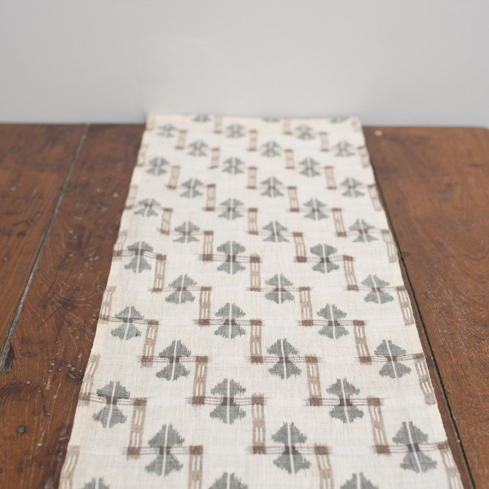 Kasuri Hemp Brown / Natural /Charcoal / Ikat / Grey Linen
