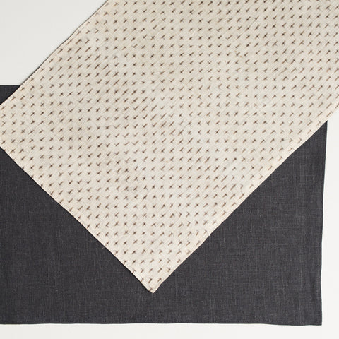 Reversible Hemp Kasuri Beige Brown Front / Washed Black Linen Back