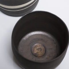 Matte Black and White Porcelain Marble Bowl