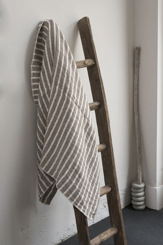 Stripe Brown and Off White Linen / Cotton Bath Towels