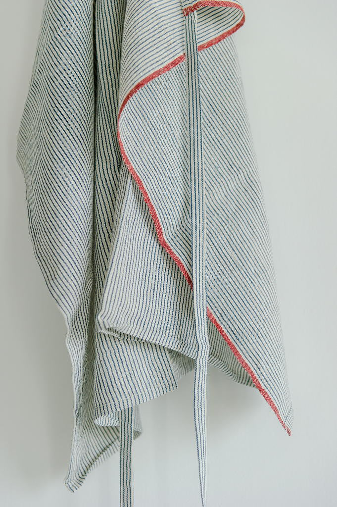 Khadi Cotton Indigo Stripe Apron / Red Selvage