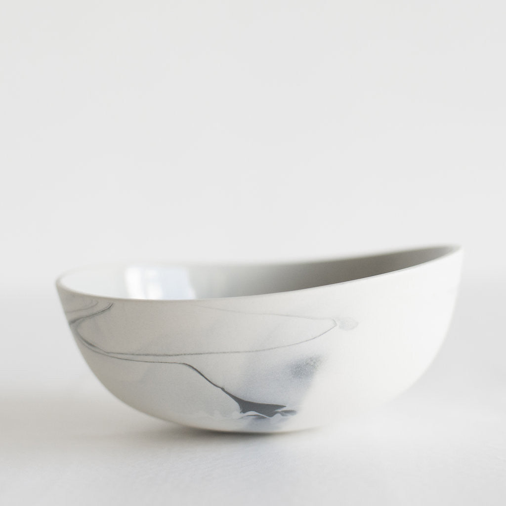 Marble Porcelain Bowl / White and Grey