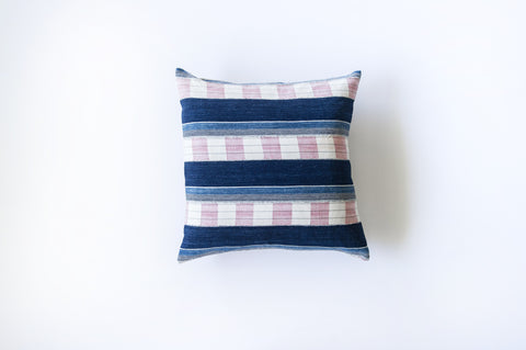 African Vintage  Indigo and Pink Chambray Stripe / Linen