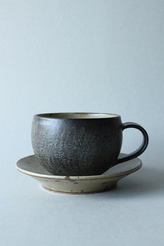 Cup and Saucer / Speckled Ink