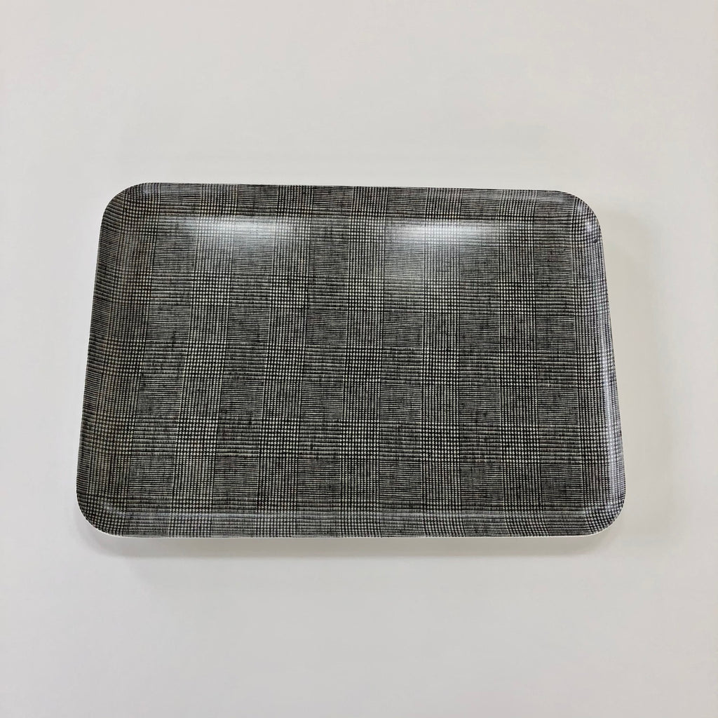 Linen Coated Rectangle Tray Glen Check /  Large