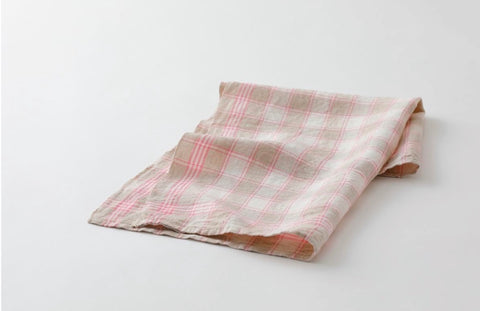 Linen Dish Towel Pink / Cream Check