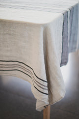 Stone Wash Linen Grey Stripe Tablecloth
