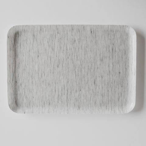 Linen Coated Rectangle Tray White Grey Stripe Large