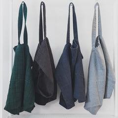 Stone Washed Linen Bags / Pine Check