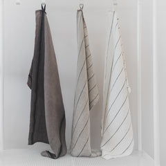 Stone Washed Linen Dish Towel / Natural Thick Stripe