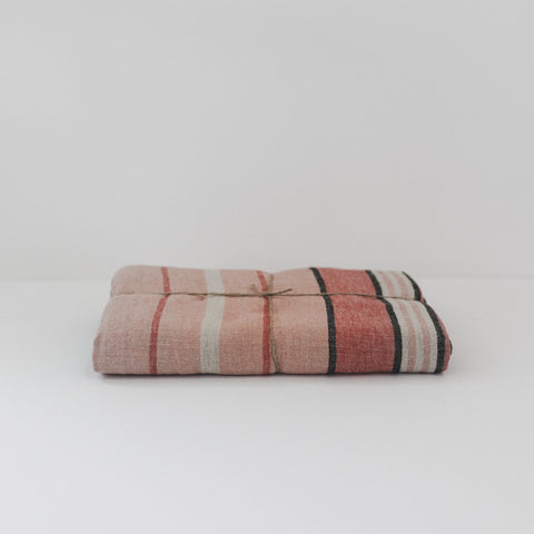 Stone Wash Linen Peach Stripe Tablecloth