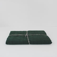 Stone Wash Linen Forest Green Windowpane Tablecloth
