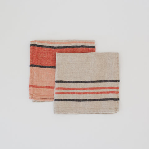Stone Washed Linen Napkin Stripe /  Peach 1 & 11