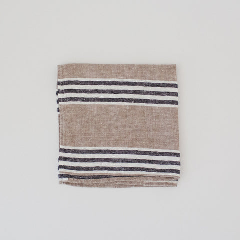 Stone Washed Linen Napkin Stripe /  Natural