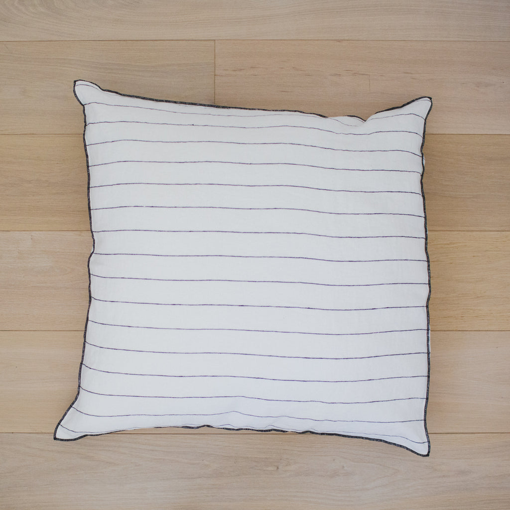 Stone Wash Bed Cushion Stripe White / Large