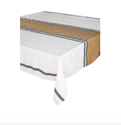 Stone Wash Linen White Stripe Tablecloth / Bronze