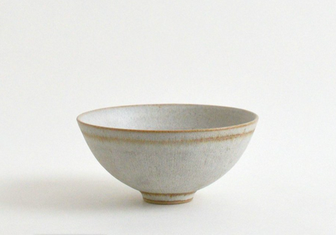 Semmon Bowl / White with Brown Trim