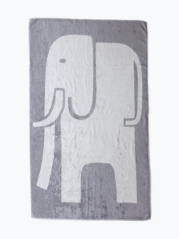 Children's Elephant Bath Towel - 2 sided Grey