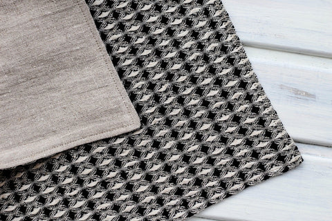 Bath Mat Woven Linen Natural /  Black S