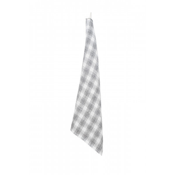 Stone Washed Linen Dish Towel / White Check