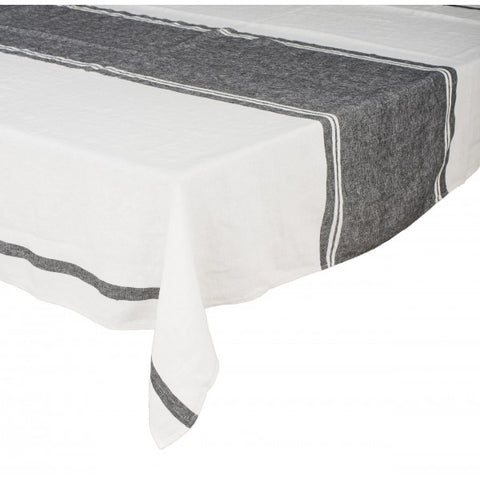 Stone Wash Linen White Stripe Tablecloth / Carbon