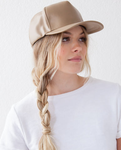 Vegan Leather Cap - Taupe
