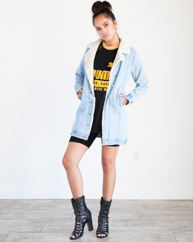 Pennylane Denim Sherpa Coat