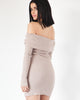Maya Off The Shoulder Dress - Taupe
