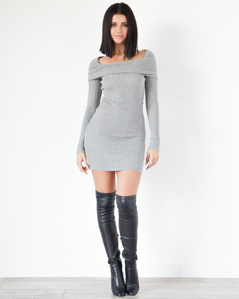 Maya Off The Shoulder Dress - Grey