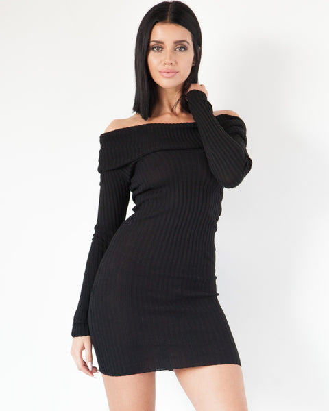 Maya Off The Shoulder Dress - Black