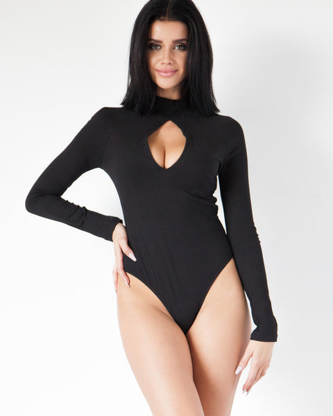 Ruffle Neck Bodysuit - Black