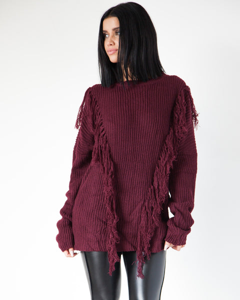 Shaggy Sweater - Maroon