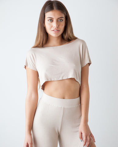 B.A.R.E. Mid Crop Top - Nude