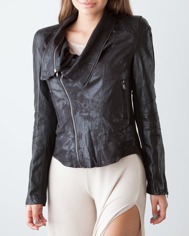Metallic Vegan Leather Jacket