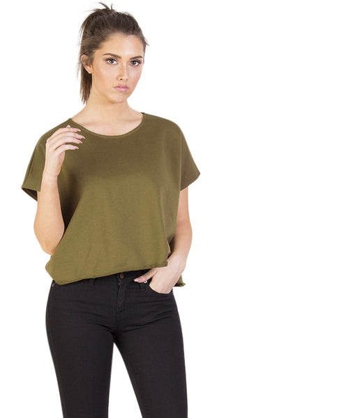 Relaxed Sweatshirt Top - Olive