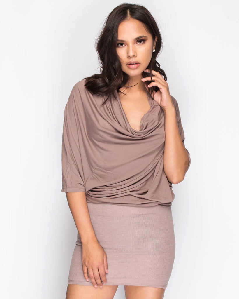 B.A.R.E. Cowl Neck Dress - Mocha