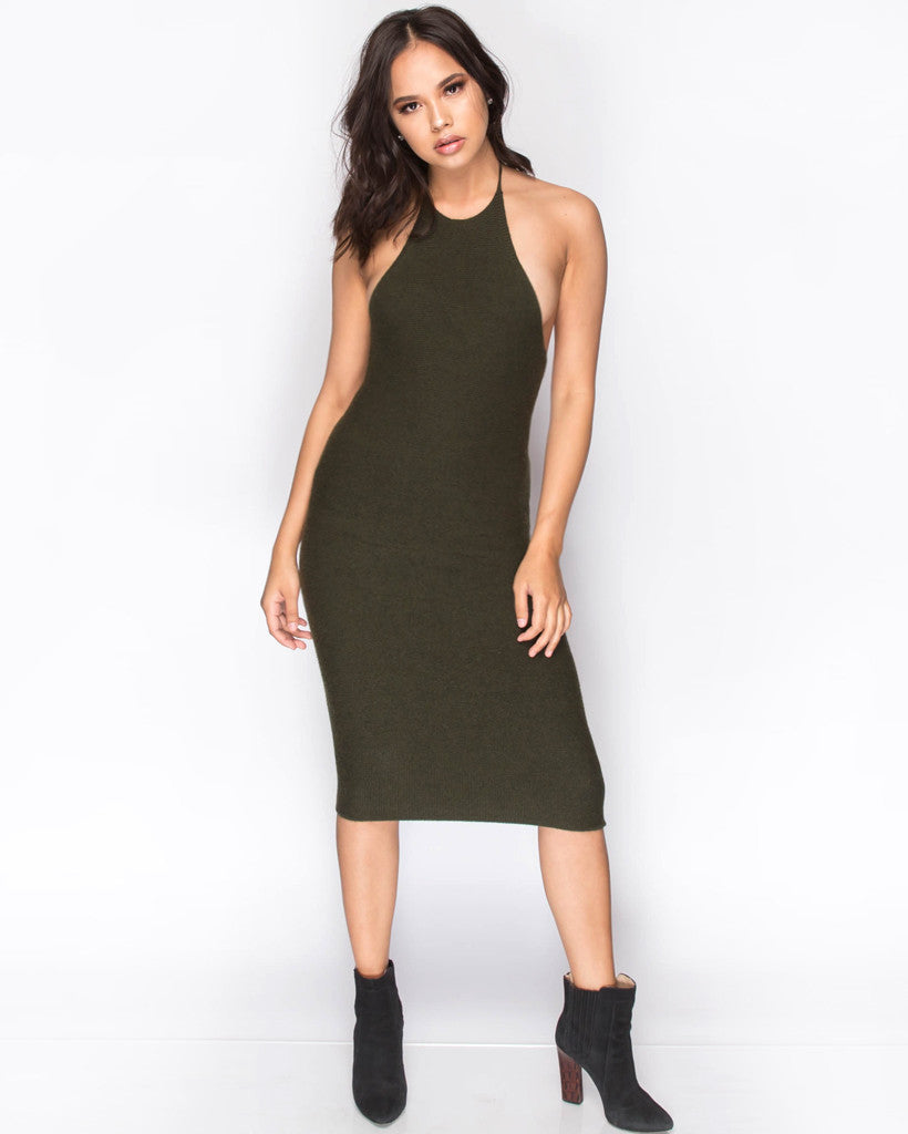 Knit Sweater Dress - Olive
