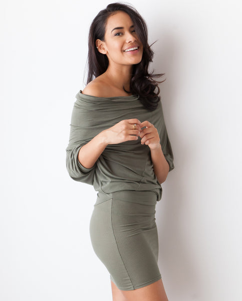 B.A.R.E. Cowl Neck Dress - Olive Green