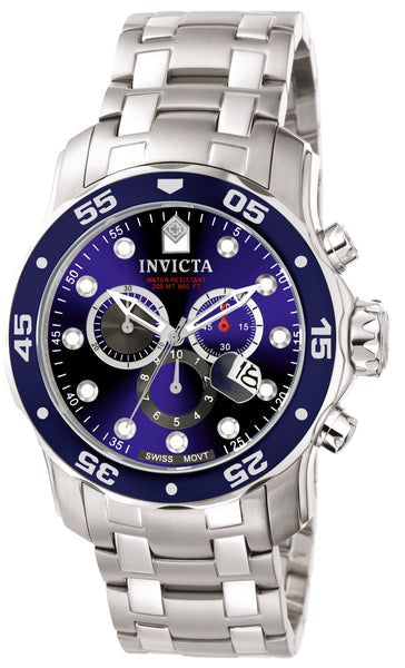 Invicta Men's 0070 Pro Diver Quartz Chronograph Blue Dial Watch