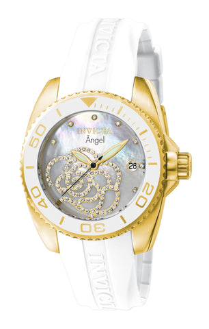 Invicta Women's 0488 Angel Quartz 3 Hand White Dial Watch