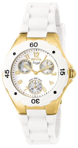 Invicta Women's 0718 Angel Quartz Multifunction White Dial Watch