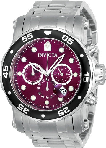 Invicta Men's 10577 Pro Diver Quartz Chronograph Burgundy Dial Watch