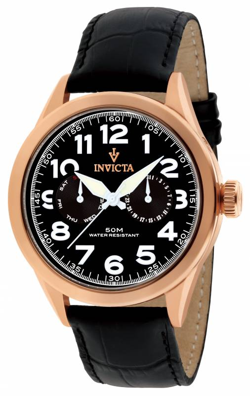 Invicta Men's 11742 Vintage Quartz 3 Hand Black Dial Watch