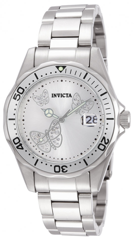 Invicta Women's 12503 Angel Quartz 3 Hand Metallic White Dial Watch