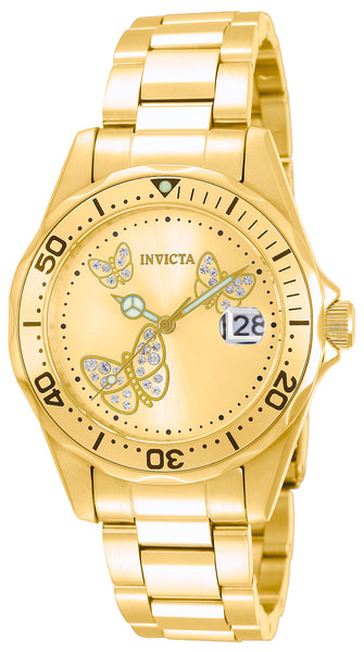 Invicta  Women's 12505 Angel Quartz 3 Hand Gold Dial Watch
