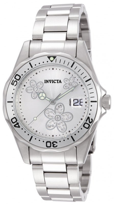Invicta Women's 12506 Angel Quartz 3 Hand Metallic White Dial Watch