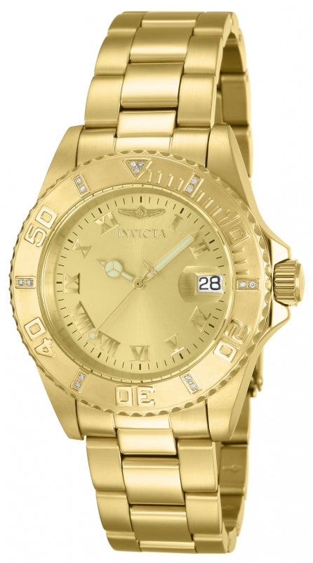 Invicta Men's 12820 Pro Diver Quartz 3 Hand Gold Dial Watch