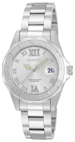 Invicta Women's 12851 Pro Diver Quartz 3 Hand Silver Dial Watch