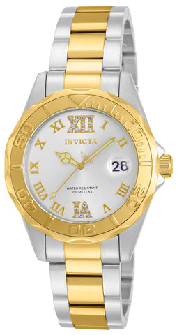 Invicta Women's 12852 Pro Diver Quartz 3 Hand Silver Dial Watch