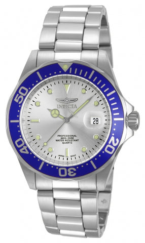 Invicta Men's 14123 Pro Diver Quartz 3 Hand Silver Dial Watch